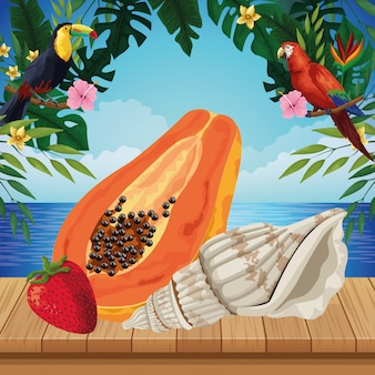Exotic tropical fruit icon cartoon