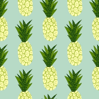 Exotic tropical fruits pattern on blue background. hand drawn pineapple wallpaper