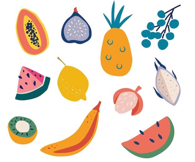 이국적인 열대 과일 세트입니다. 즙이 많고 잘 익은 과일: 파파야, 무화과, 포도, 레몬, 바나나, 수박, 열매, 키위. 건강한 라이프 스타일이나 다이어트 디자인 요소입니다. 평면 벡터 일러스트 레이 션.