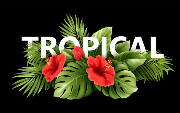 Exotic tropical hibiscus flowers and monstera leaves, palm leaves of tropical plants  on  background.