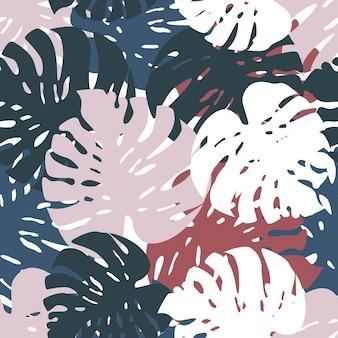 エキゾチックなトロピカルモンステラはシームレスなパターンを残します。創造的なヤシの葉の植物の壁紙。