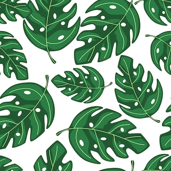 Exotic tropical monstera leaves seamless repeat pattern