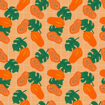 Exotic tropical papaya fruit seamless pattern. summer fruit concept.