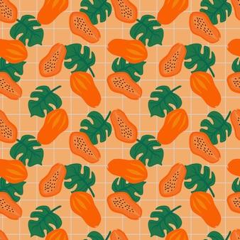 エキゾチックなトロピカルパパイヤフルーツのシームレスパターン。夏の果物のコンセプトです。