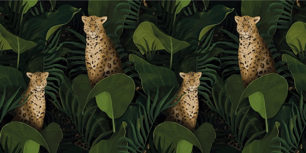 Exotic tropical pattern with leopards in palm leaves