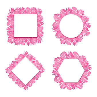 Exotic tropical pink leaves monstera. set round, rhombus, hexagon, square  paper banner.