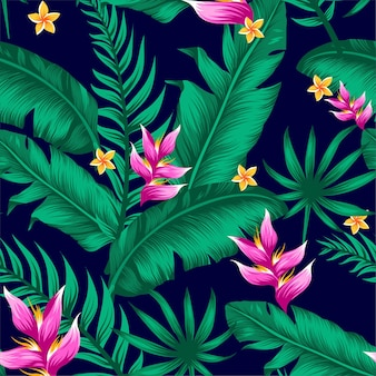 Exotic tropical vector background with hawaiian plants and flowers.
