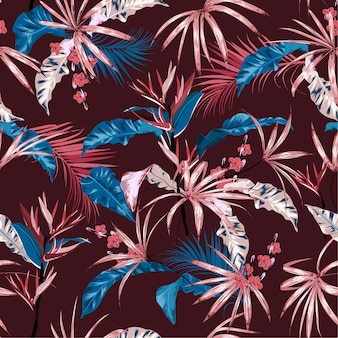 Exotic tropical vector background with hawaiian plants