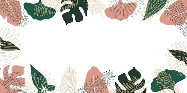 ハワイの植物とエキゾチックな熱帯のベクトルの背景ジャングルの葉とベクトルパターン