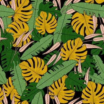 Exotic tropical vector seamless pattern. modern tropical palm leaves wallpaper.