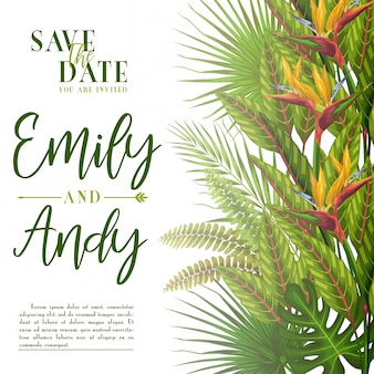 Exotic tropical wedding invitation