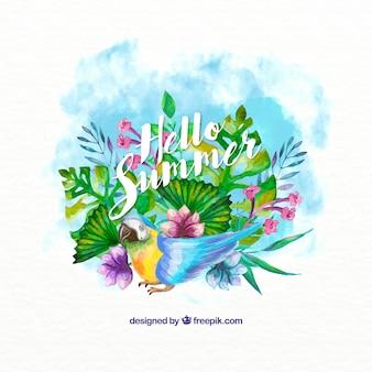 水彩画効果のオウムの背景を持つエキゾチックな植生
