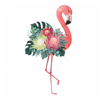 Exotic watercolor flamingo illustration with tropical floral arrangement