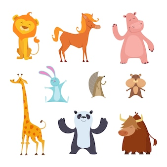 Exotic wild animals in cartoon style