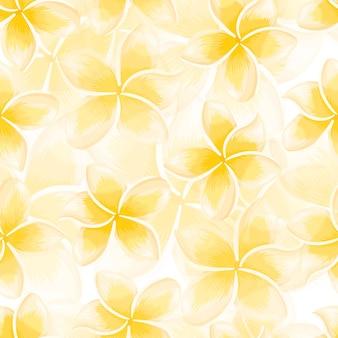 이국적인 노란색 피 플루메리아 완벽 한 패턴입니다. 열대 꽃 벽지. 추상 식물 배경입니다. 직물, 섬유 인쇄, 포장, 덮개 디자인. 벡터 일러스트 레이 션.
