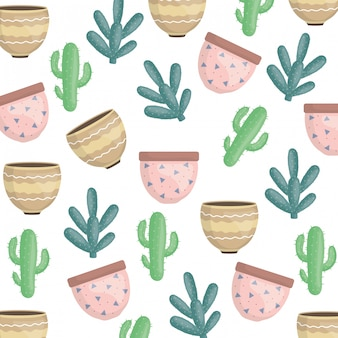 Exotics cactus plants and ceramic pots pattern