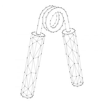 抽象的な未来的な多角形の黒い線と点からのエキスパンダー。