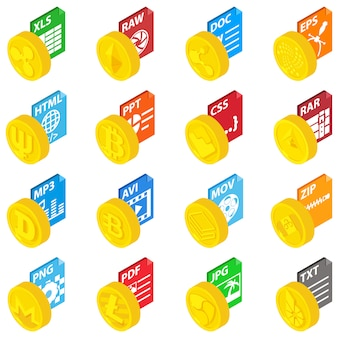 Expansion coin icons set, isometric style