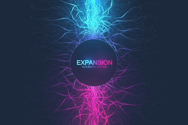 Expansion of life. colorful explosion background with connected line and dots, wave flow. visualization quantum technology. abstract graphic background explosion, motion burst, illustration.