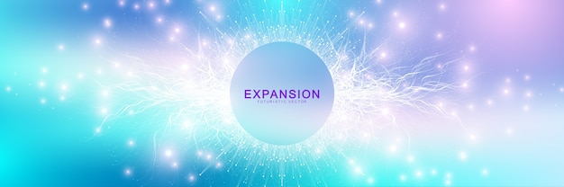 Expansion of life. colorful explosion background with connected line and dots, wave flow.