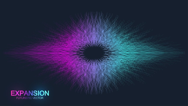 Expansion of life. colorful explosion background with connected line and dots