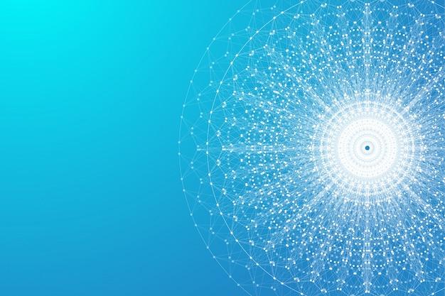 Расширение жизни. красочный фон взрыва с подключенной линией и точками, волновой поток. визуализация квантовая технология. абстрактный графический фон взрыв, движение всплеск, иллюстрация.