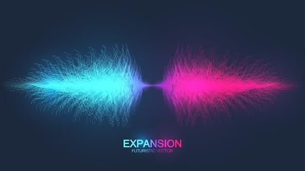人生の拡大。接続された線と点、波の流れとカラフルな爆発の背景。視覚化量子技術。