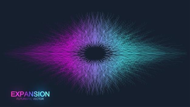 人生の拡大。接続された線と点でカラフルな爆発の背景