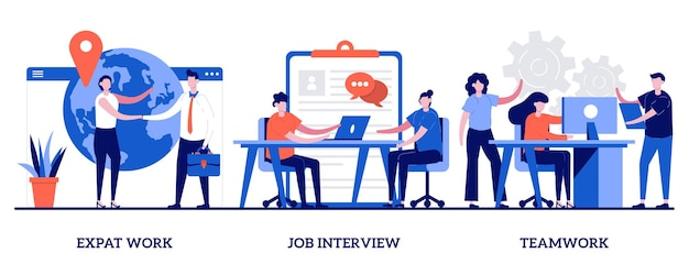 Expat work, job interview, teamwork concept with tiny people