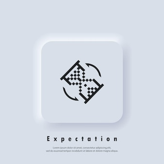 Expectation icon. hourglass. sandglass clock pixel icon. waiting time. fast service. vector. ui icon. neumorphic ui ux white user interface web button. neumorphism