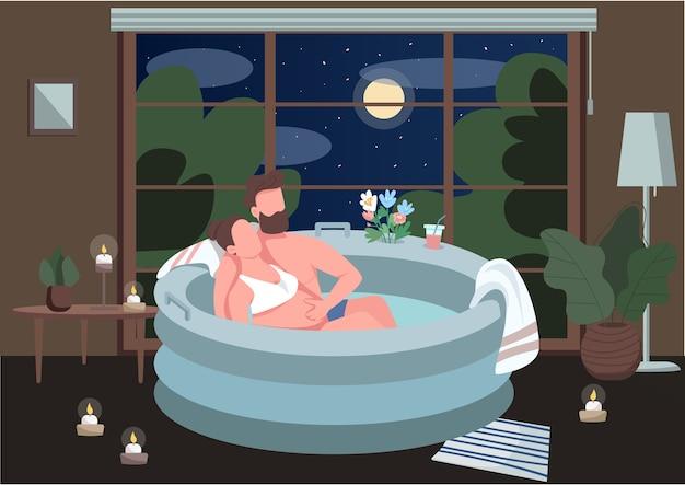 浴槽フラットカラーのカップルを期待しています。代替出産のための快適な環境。自宅でロマンチックな雰囲気。背景にインテリアと2d漫画のキャラクターをカップル