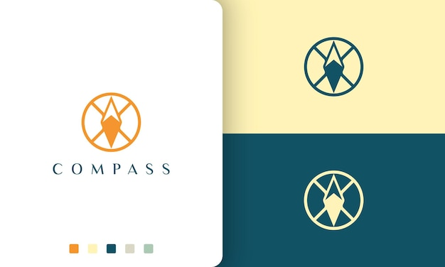 Expedition or adventure logo with a simple and modern compass circle shape