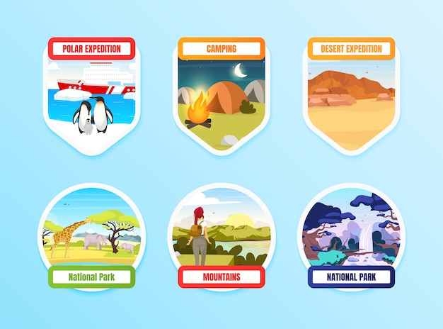 Expedition flat color badge set on blue background. national park. north pole. camping and hiking. trekking on hills. exloration graphic sticker pack. tourism isolated cartoon design element