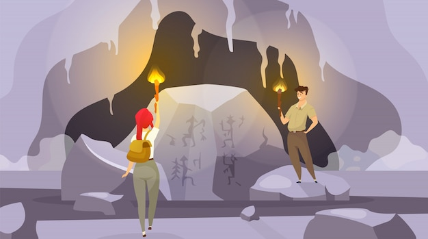 동굴 그림으로 탐험. 남자와 여자는 횃불과 산 내부를 탐험. 여성은 벽화를 찾습니다. 남성 관찰 벽 사진. 관광객 만화 캐릭터