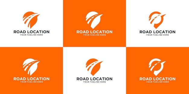 Expedition road and location symbol logo design template