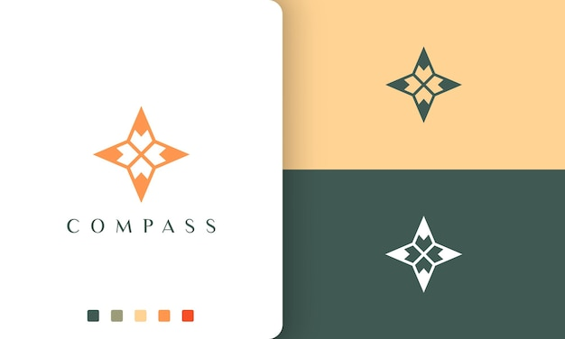 Expedition or travel logo with a simple and modern compass shape