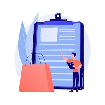 Calcolo delle spese. pianificazione della lista dei desideri, lista della spesa, riepilogo degli acquisti. cestino del supermercato di internet, elemento di design creativo della lista dei desideri dell'acquirente.
