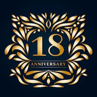 Expensive eighteenth anniversary logo