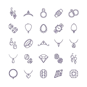 Expensive gold jewelry with diamond line icons and wedding accessories symbols
