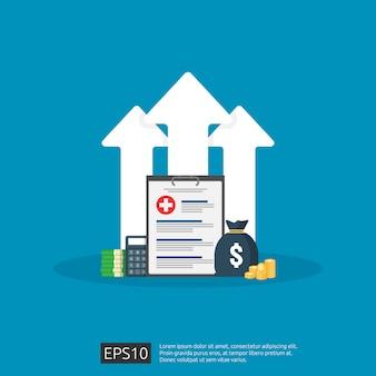 Дорогое растущее здоровье медицина стоимость концепции. расходы на здравоохранение или расходы. медицинский документ буфера обмена с деньгами и калькулятором. плоский дизайн иллюстрация.
