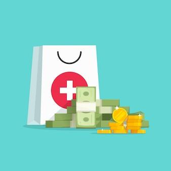 고가의 의료 개념 또는 약 약물 일러스트에 대한 큰 지출