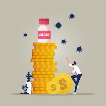Covid19 코로나바이러스 백신 개념에 대한 비싼 의료비