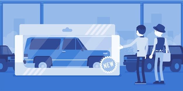 男性のための高価なおもちゃ。娯楽のための包まれた車、自動車ショールームからのプレゼントボックスに入った実車、遊びと運転の楽しみのための自動車娯楽を贈られた男性の人。ベクトルイラスト