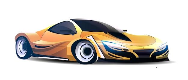 Дорогой желтый спортивный автомобиль с включенными фарами