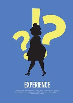 女性のシルエットを持つテキストテンプレートでビジネスイラストを体験します。