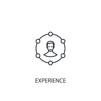 경험 개념 라인 아이콘입니다. 간단한 요소 그림입니다. 경험 개념 개요 기호 디자인입니다. 웹 및 모바일 ui/ux에 사용할 수 있습니다.