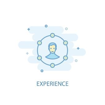 경험 라인 개념입니다. 간단한 라인 아이콘, 컬러 그림입니다. 경험 기호 평면 디자인입니다. ui/ux에 사용할 수 있습니다.