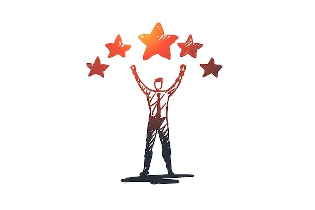 経験、満足、ポジティブ、評価の概念。手描きの男と評価星のコンセプトスケッチ。