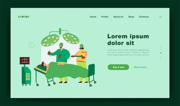 Experienced surgeons team treating patient on operation table flat  illustration. cartoon medical workers working in operation room. medicine and technology concept landing page