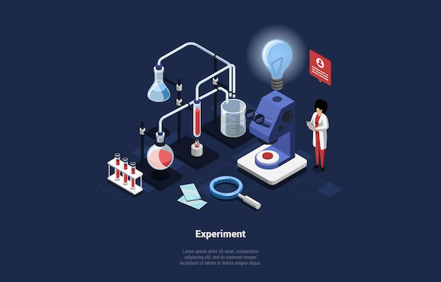 Experiment concept illustration on blue dark